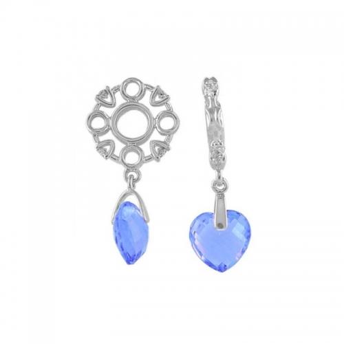 Storywheels Silver, Diamond & Swiss Blue Topaz Heart Dangle Charm S241SW