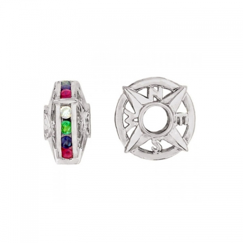 Storywheels Silver & Multi Gemstone Compass Wheel Charm S059MUL