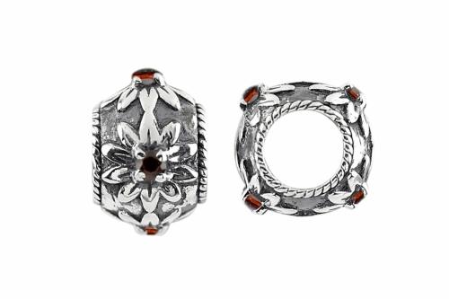 Storywheels Silver Blossom Flowers with Garnet