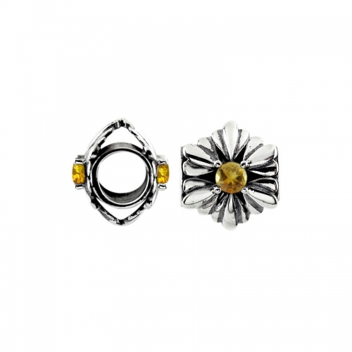 Storywheels Oxidised Silver & Citrine Flower Charm S455C