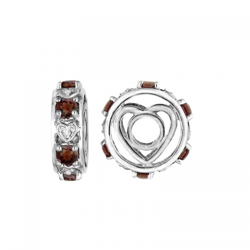 Storywheels Silver & Garnet Heart Wheel Charm S091G