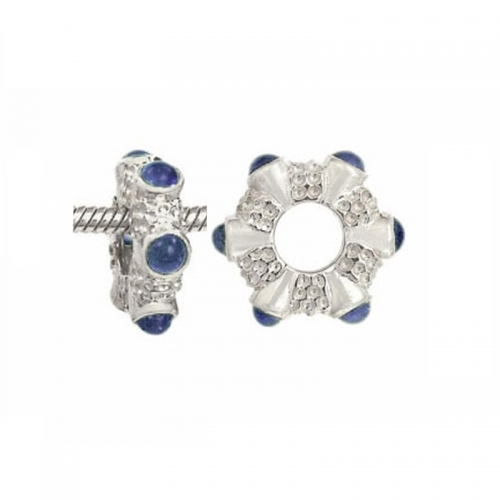 Storywheels Silver & Sapphire Cabochon Charm S018S
