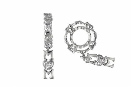 Storywheels Sterling Silver and Diamond Wheel with Diamond Mum Drop