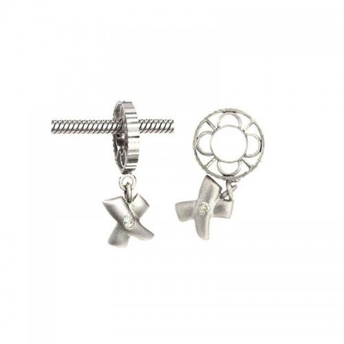 Storywheels Silver Wheel with Sandblast Diamond Kiss Dangle S019SAND
