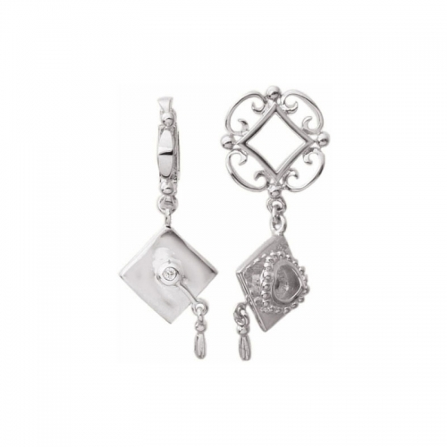 Storywheels Silver Graduation Cap Dangle Charm S169D