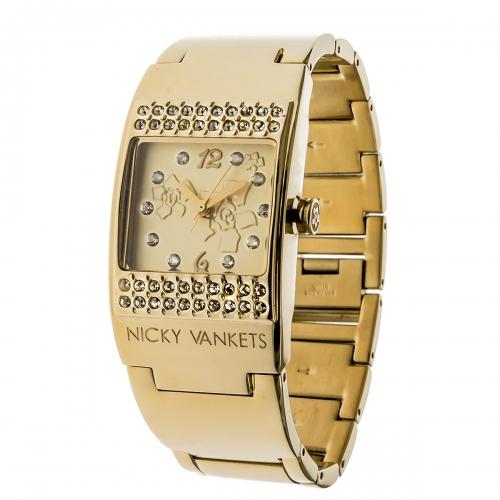 Nicky Vankets CZ Gold Cuff Watch
