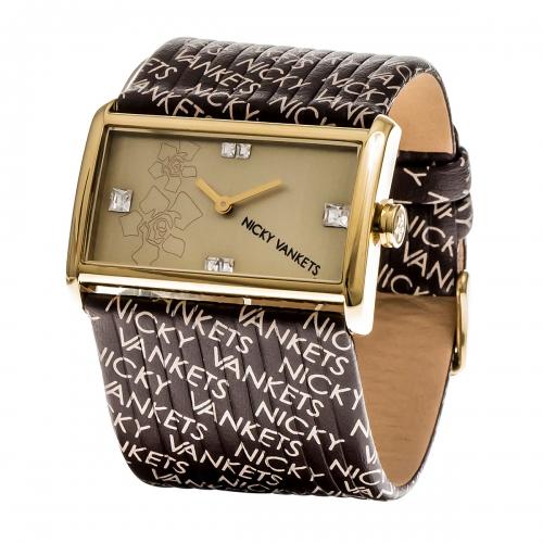 Nicky Vankets Logo Cuff Gold & Brown Watch