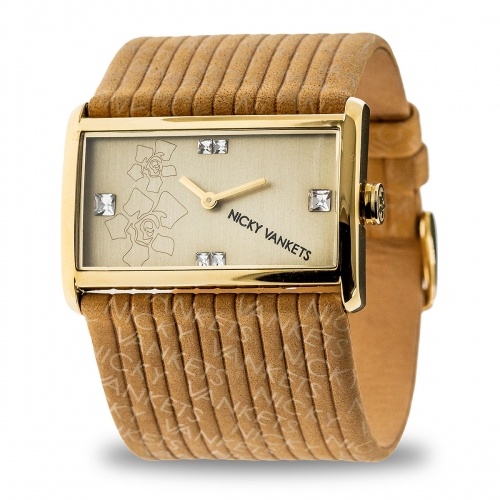 Nicky Vankets Logo Cuff Gold & Beige Watch