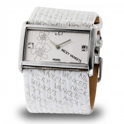 Nicky Vankets Logo Cuff Silver & White Watch