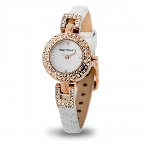 Nicky Vankets Rose Gold & White CZ Watch