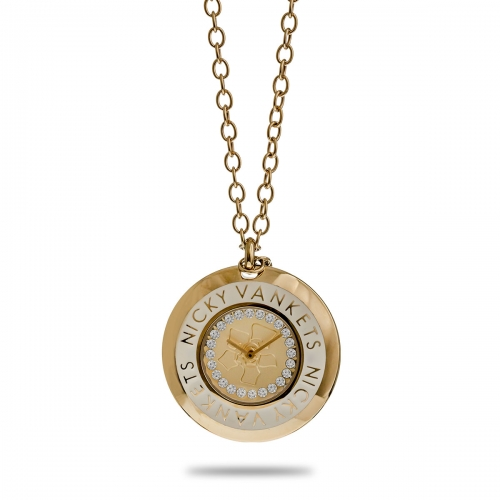 Nicky Vankets Gold Round Necklace Watch
