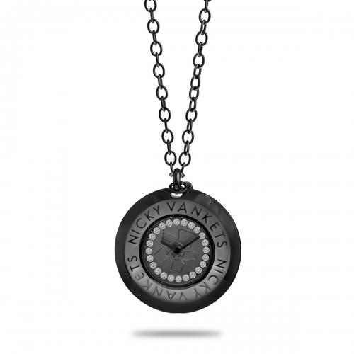 Nicky Vankets Gunmetal Round Necklace Watch