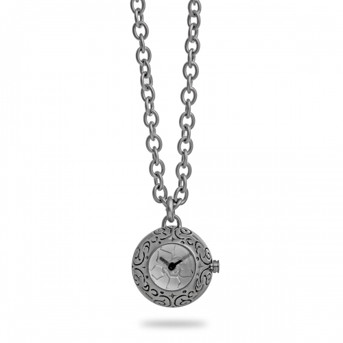 Nicky Vankets Matte Silver Necklace with Small Watch Pendant