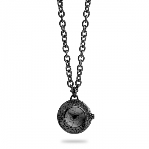 Nicky Vankets Gunmetal Necklace with Small Watch Pendant