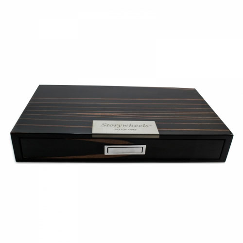 Storywheels Black Dark Wood Veneer Jewellery Presentation Box