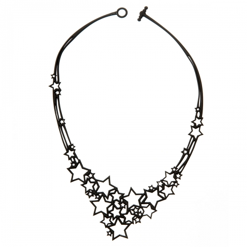 Batucada Skin Jewellery Black Stars Necklace