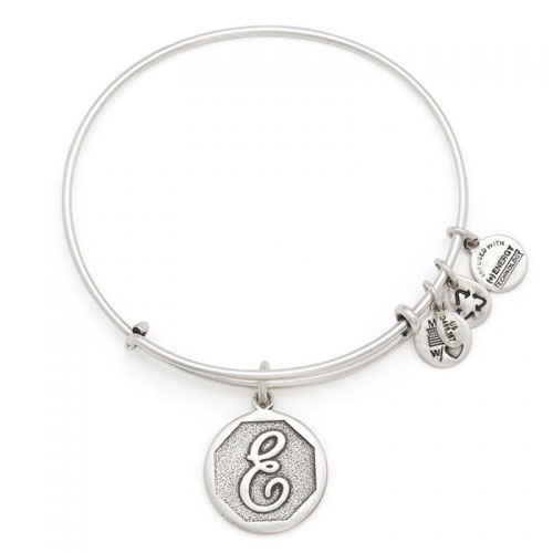 Alex and Ani Initial E Silver Bangle A13EB14ES
