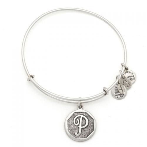 Alex and Ani Initial P Silver Bangle A13EB14PS
