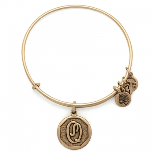 Alex and Ani Initial Q Gold Bangle A13EB14QG