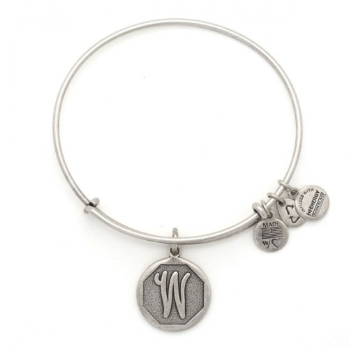 Alex and Ani Initial W Silver Bangle A13EB14WS