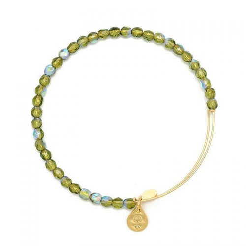 Alex and Ani Moss Rock Candy Beaded Gold Bangle BBEB172G