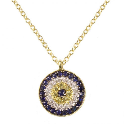 Meira T Diamond and Sapphire Evil Eye Necklace 1N4545