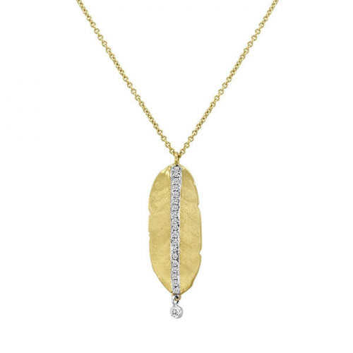 Meira T Meira T Hammered Yellow Gold Leaf Necklace 1n5883