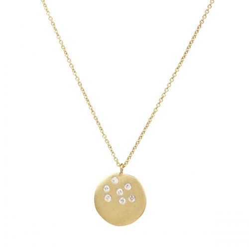 Meira T Scattered Diamond and 14k Gold Disc Necklace 1N5741