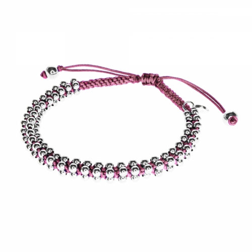 Barong Barong Old Pink and Silver Lucky Silk Bracelet