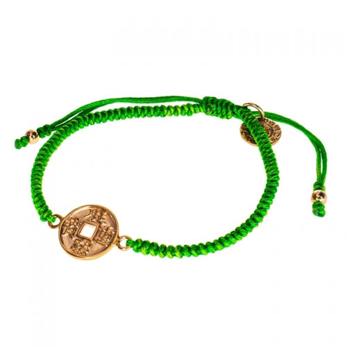 Barong Barong Green and Rose Gold One Luck Chinese Coin Bracelet