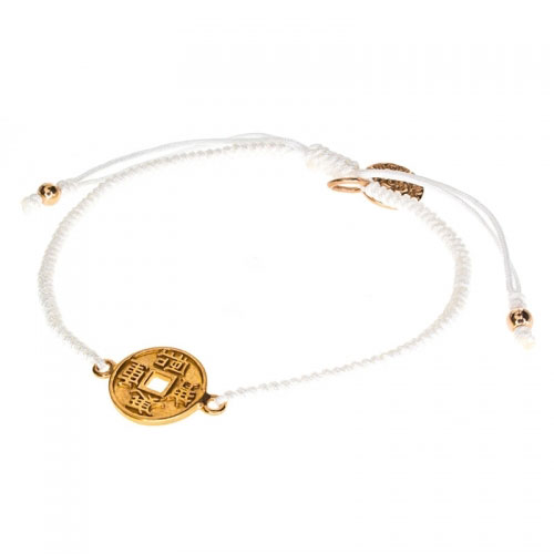 Barong Barong White and Rose Gold One Luck Chinese Coin Bracelet