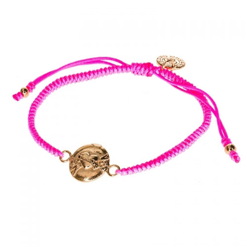 Barong Barong Neon Pink and Rose Gold One Luck Heart Bracelet