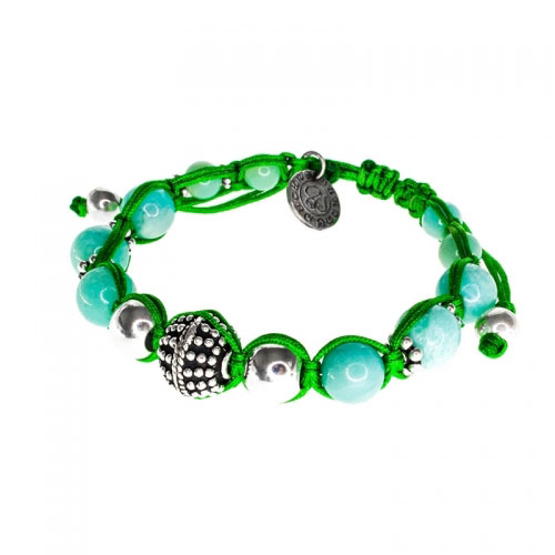 Barong Barong Green with Silver and Jade Stone Small Lucky Sparkle Bracelet