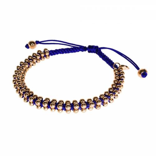 Barong Barong Cobalt and Rose Gold Lucky Silk Bracelet