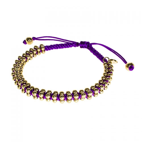 Barong Barong Deep Purple and Yellow Gold Lucky Silk Bracelet