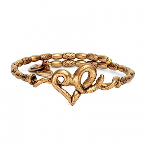 Alex and Ani Heart Wrap Gold Bangle VW357RG