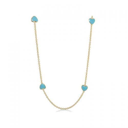 Lauren G Adams Blue Enamel Hearts Necklace