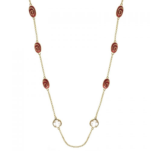 Lauren G Adams Red Enamel Swirl Necklace
