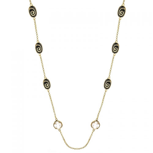 Lauren G Adams Black Enamel Swirl Necklace