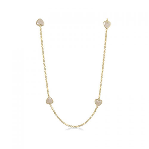 Lauren G Adams Gold Enamel Hearts Necklace