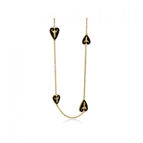 Lauren G Adams Black and Gold Medieval Heart Necklace