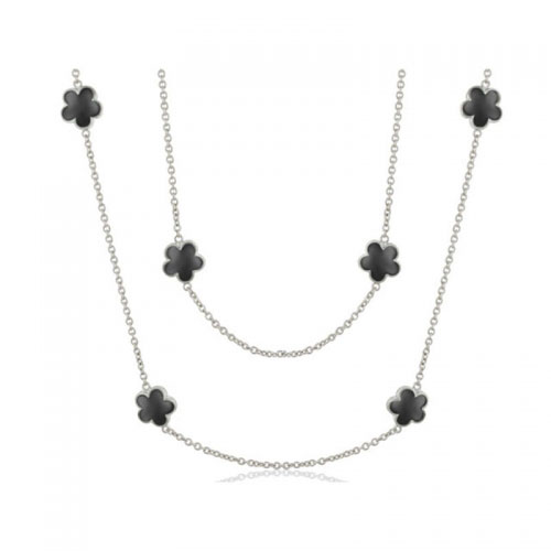 Lauren G Adams Silver and Enamel Daisy Love Necklace