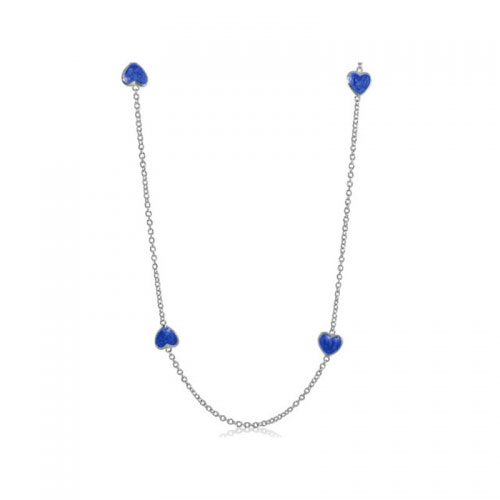 Lauren G Adams Silver Necklace with Blue Enamel Hearts