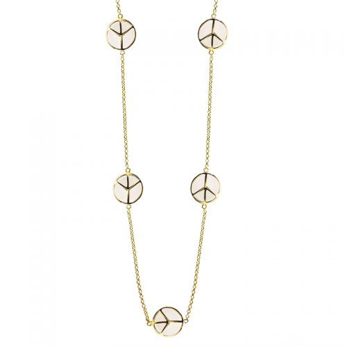 Lauren G Adams Gold and White Enamel Peace Sign Necklace