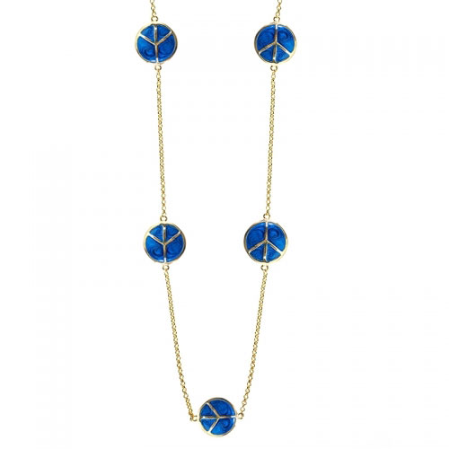 Lauren G Adams Lauren G Adams Gold and Blue Enamel Peace Sign Necklace