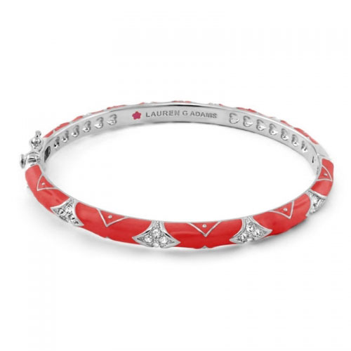 Lauren G Adams Silver and Red Enamel Fiesta Pattern Bangle