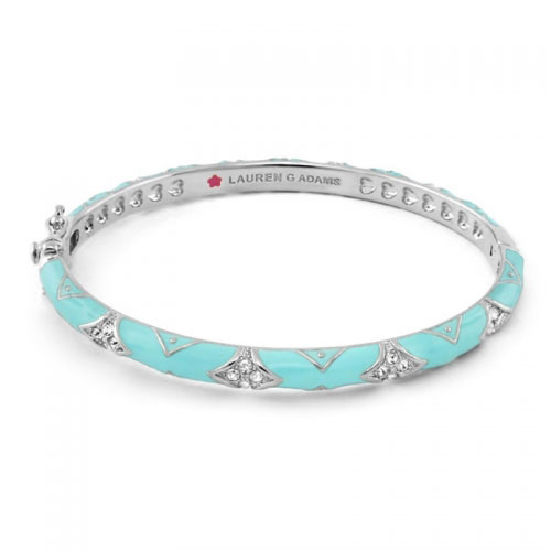 Lauren G Adams Silver and Turquoise Enamel Fiesta Pattern Bangle