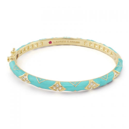 Lauren G Adams Gold and Turquoise Enamel Fiesta Pattern Bangle