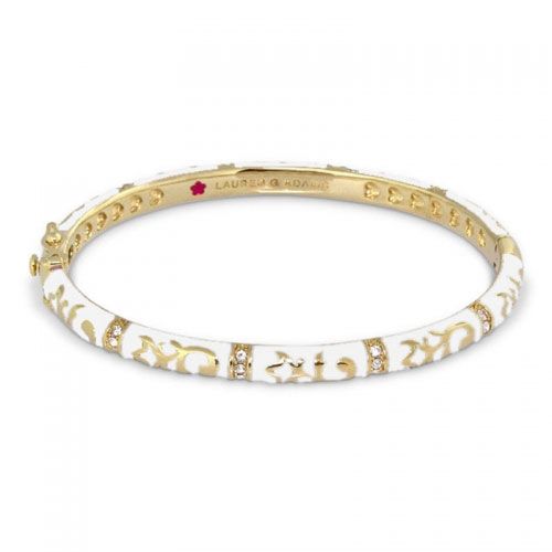 Lauren G Adams Gold and White Enamel Fiesta Bangle