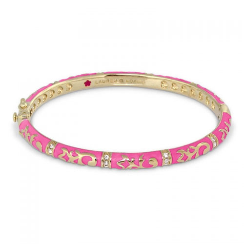 Lauren G Adams Gold and Pink Enamel Fiesta Bangle